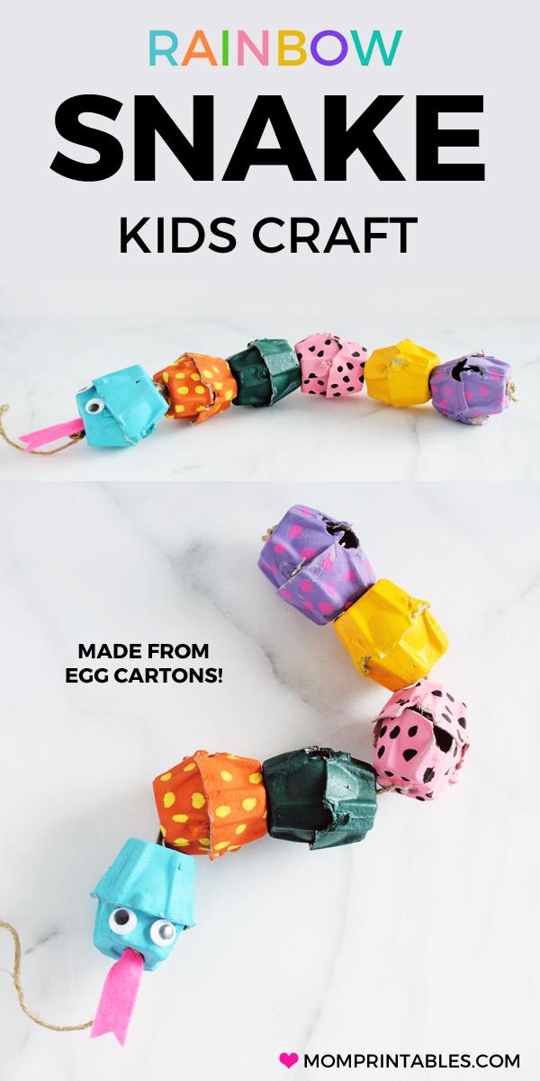 Easy Egg Carton Snake Craft For Kids, toddlers, or preschoolers.  #kidscraft #toddlercraft #preschool #eggcartoncraft #snakecraft #craftforkids