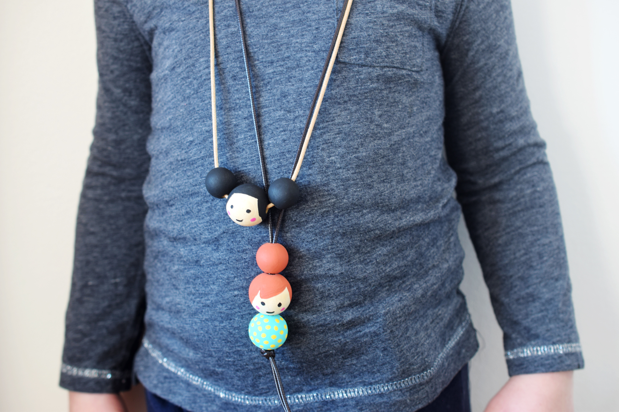 Wood Bead Doll Face Necklace Kids Craft
