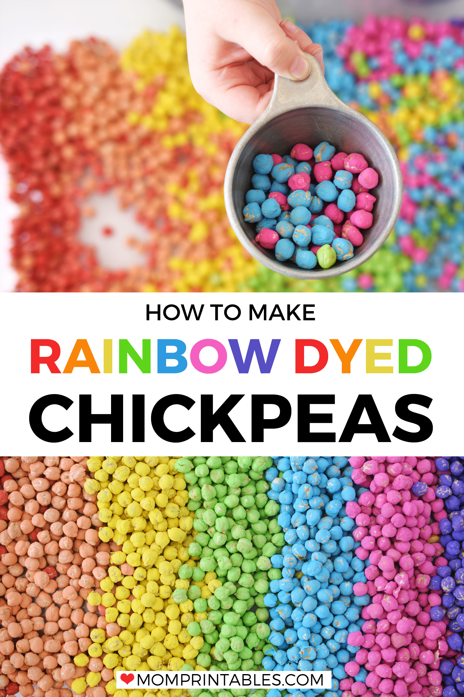 Rainbow Dyed Chickpeas Sensory Play Bin for kids. Learn how to make them and the best technique to get the brightest colors! #sensoryplay #sensory #kidscraft #kids