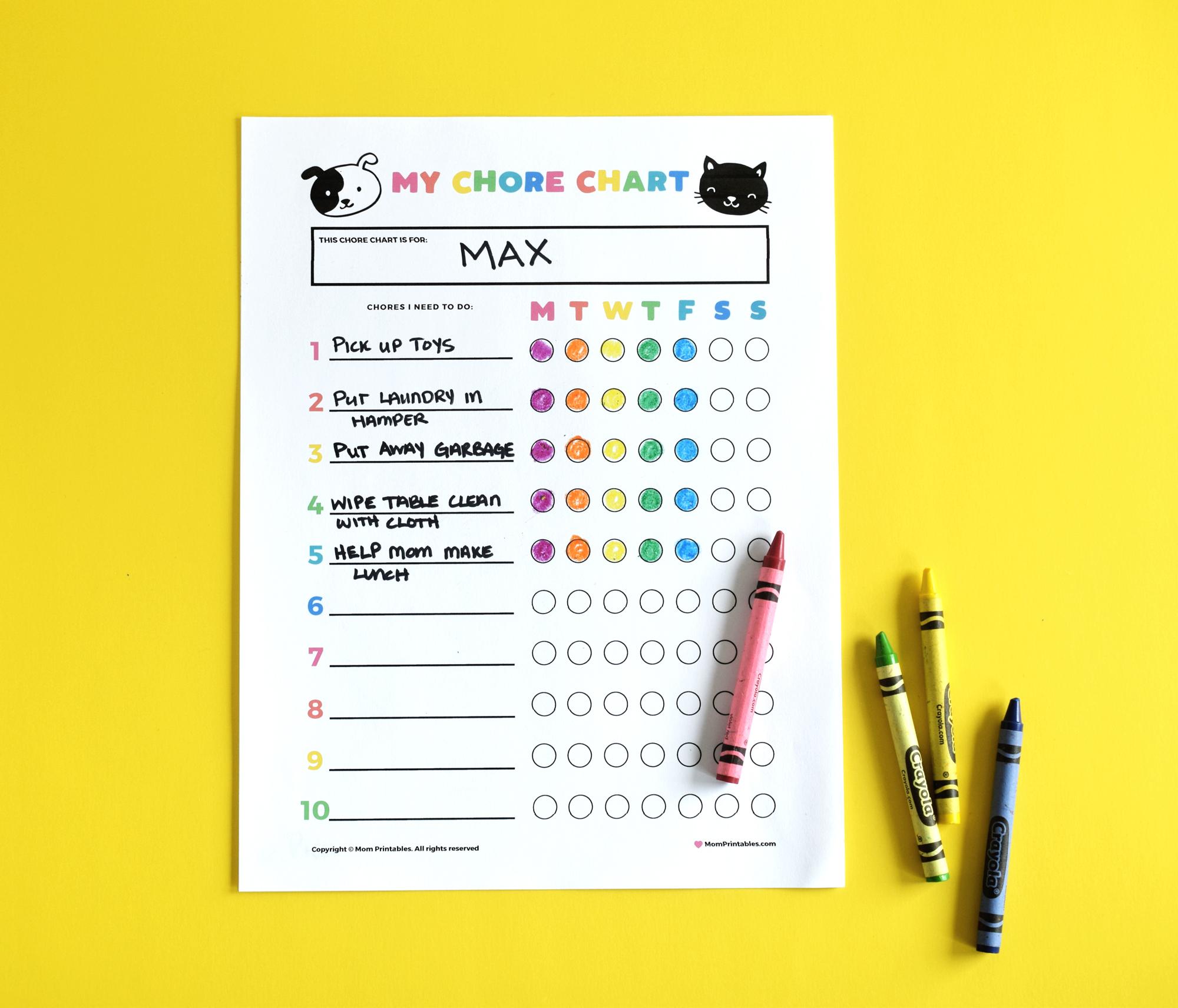 kids chore chart free printable