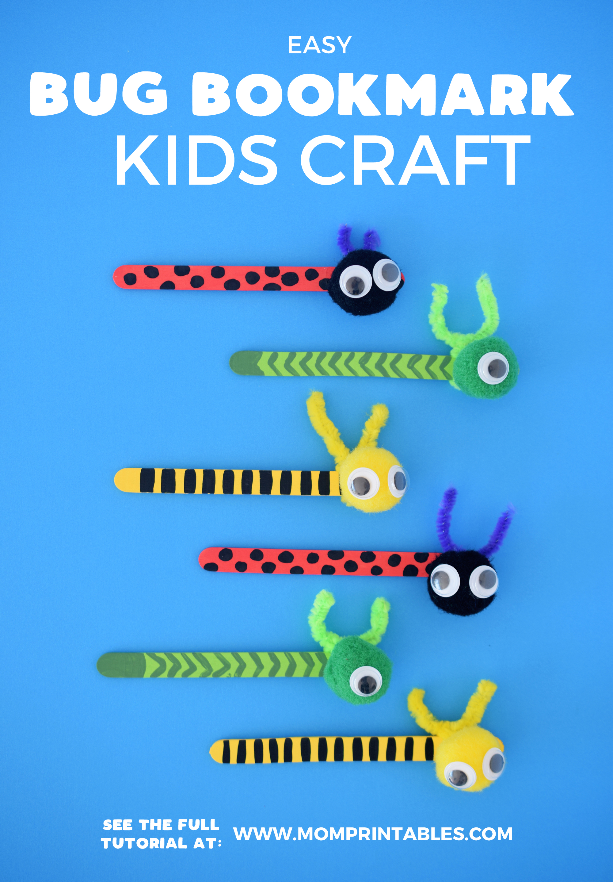 Bookmark Craft for kids | ideas | preschool | for toddlers | DIY | easy | creative | template | popsicle stick | reading | how to make | tutorials | inspiration | activities | library | bug | insect | ladybug | great gifts | gift ideas #bookmarkcraft #bugcraft #ladybug #caterpillar #kidscraft #toddleractivities