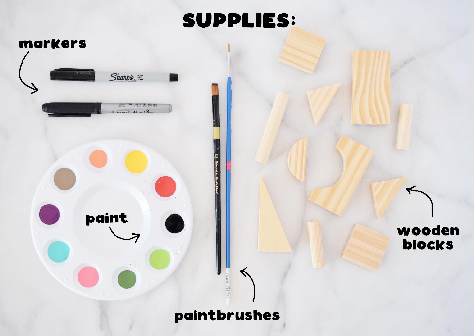 Kids Painted Toy Blocks DIY craft - supplies needed