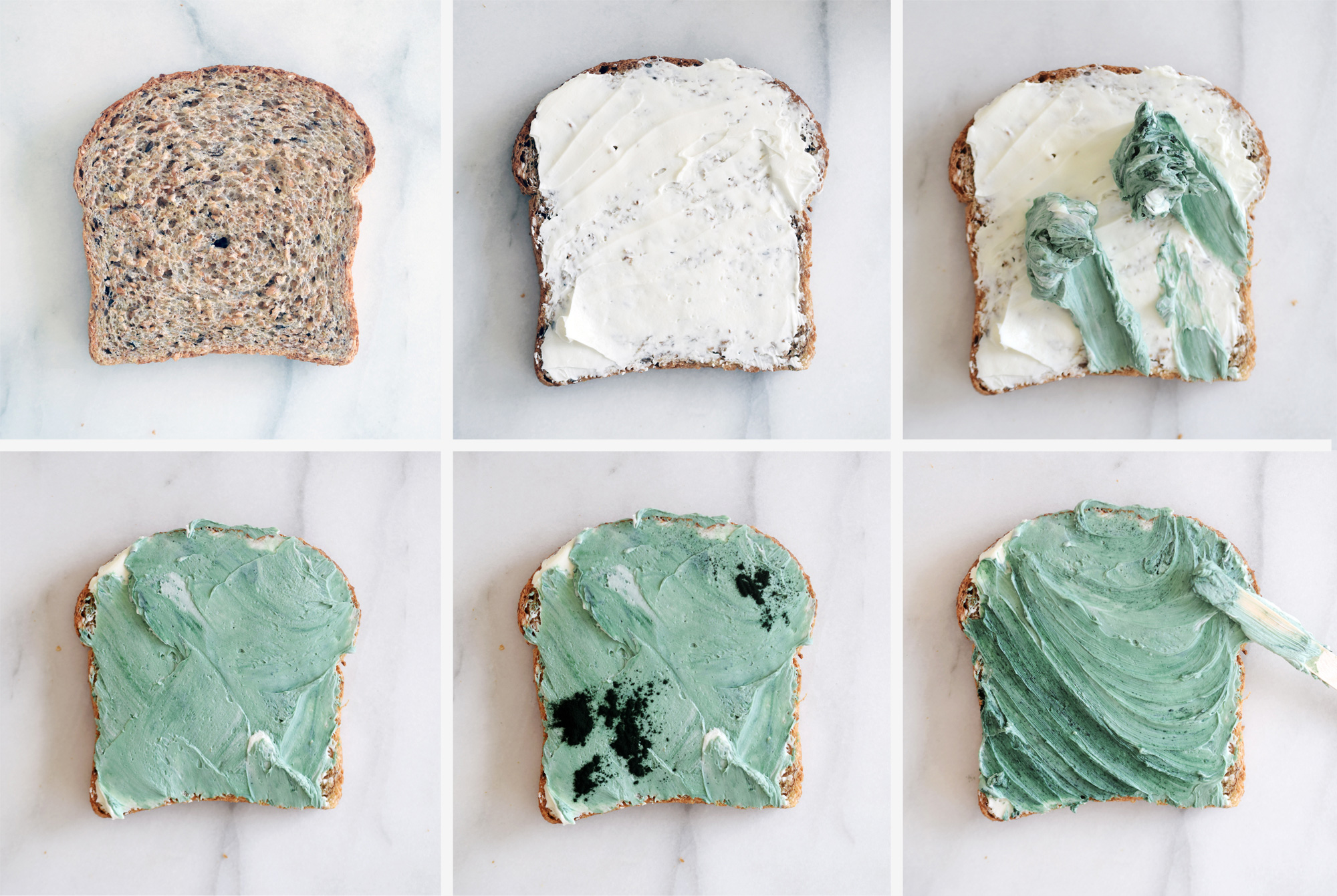 how to make mermaid toast - step by step process