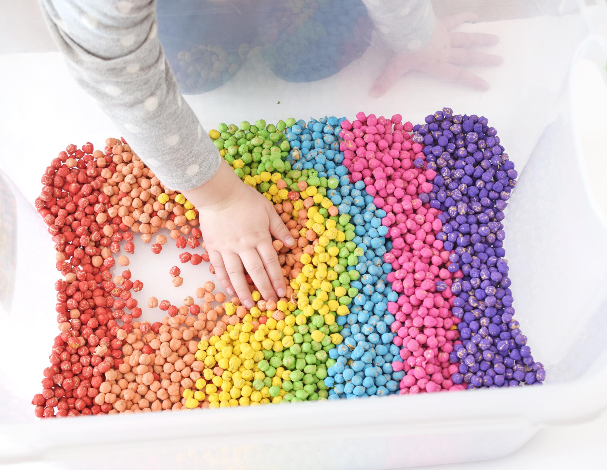 rainbow chickpea sensory play