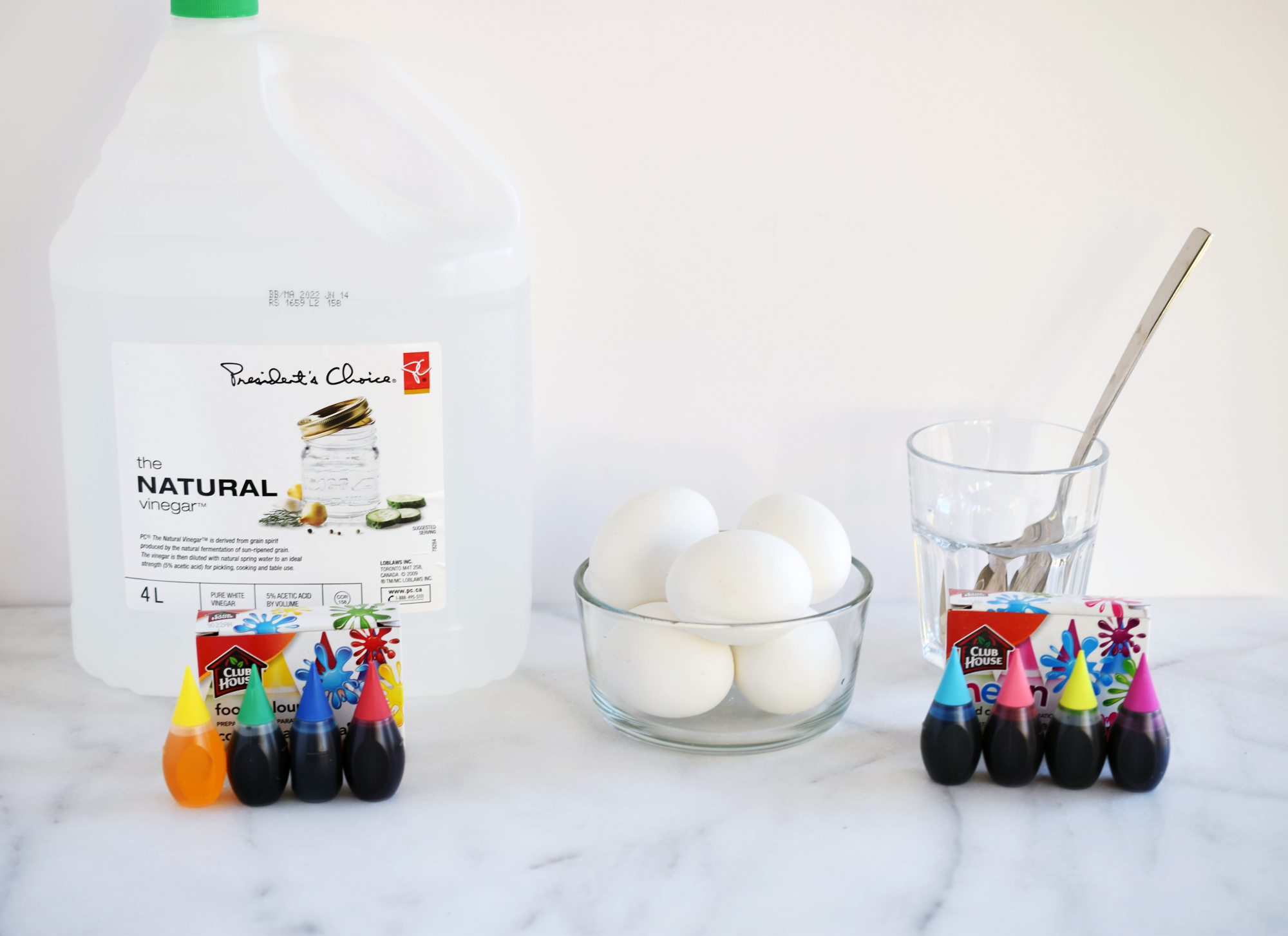 How To Dye Easter Eggs With Food Coloring - supplies needed