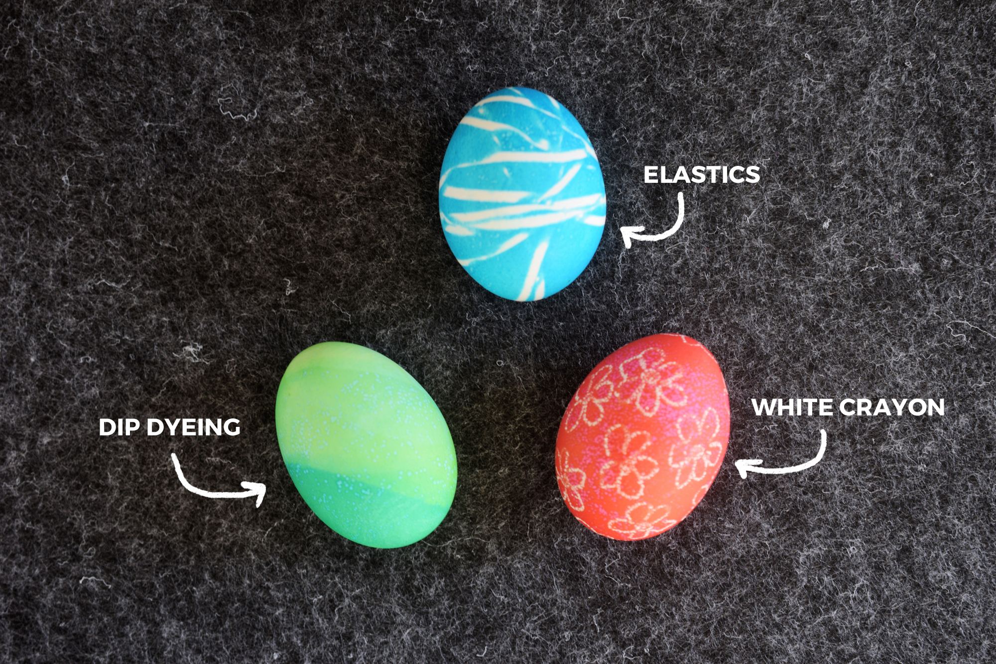 How To Dye Easter Eggs With Food Coloring - using elastics, crayons and stickers to make patterns