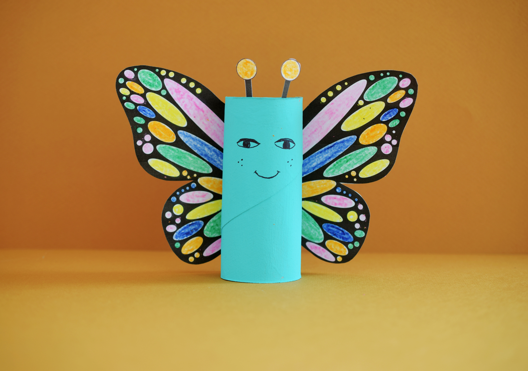 Rainbow Butterfly Paper Roll Craft