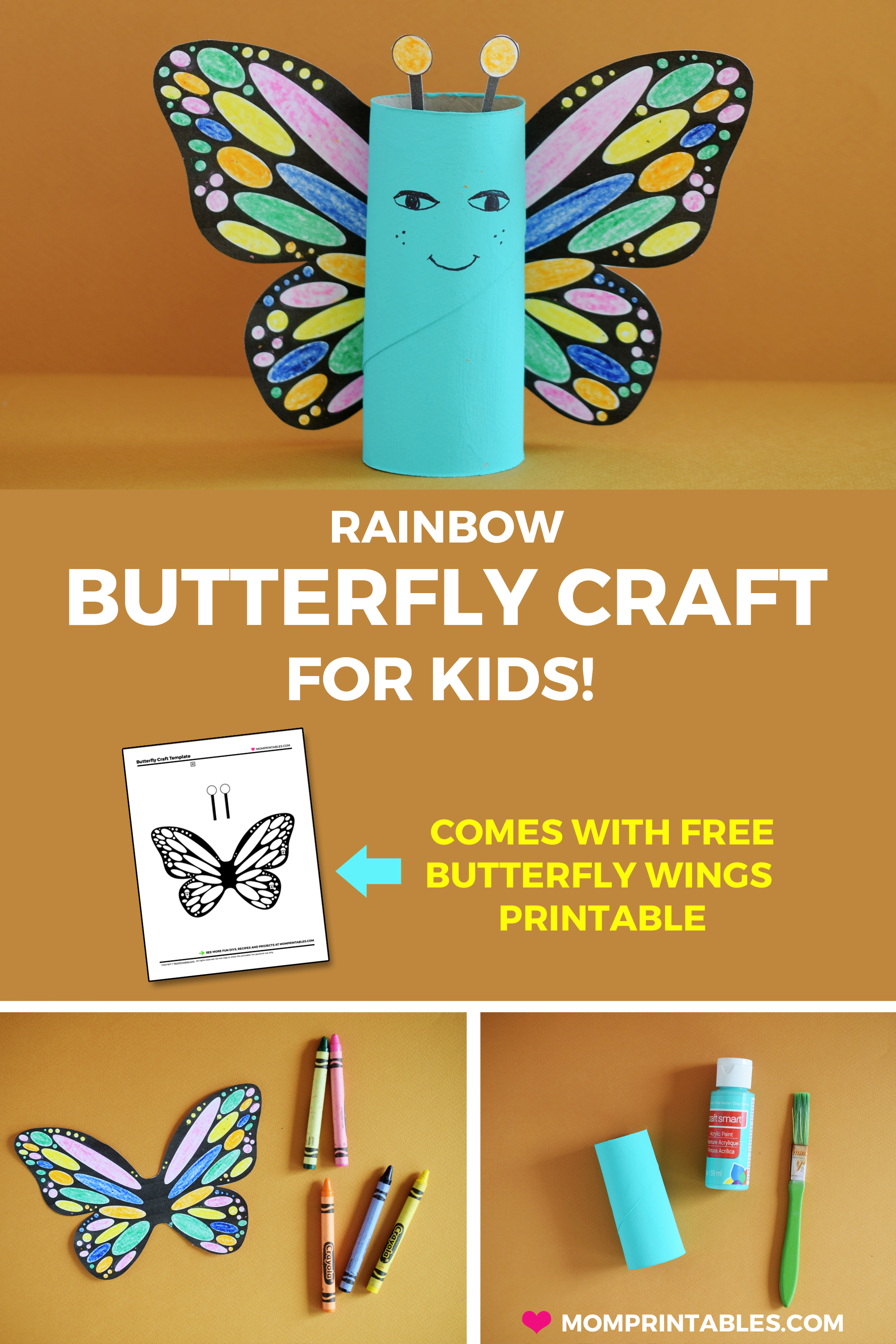 Rainbow Butterfly Paper Roll Craft for kids | preschool | tutorial | kindergarten | easy craft | project | tutorial |  monarch | to make | ideas | free printable | toddlers | spring craft | toilet paper roll craft #butterflycraft #springcraft #kidscraft #paperrollcraft