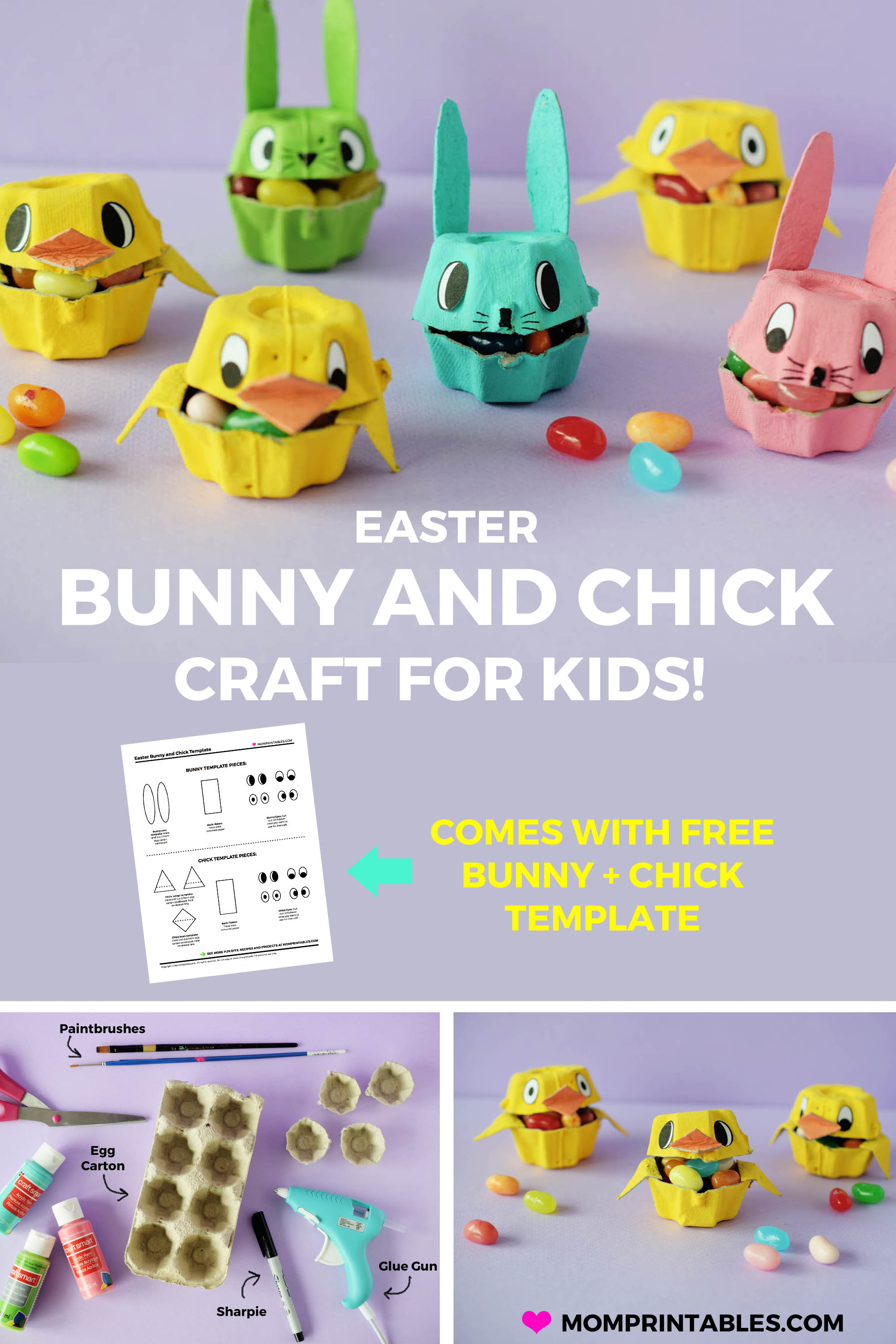 Easter Bunny and Chick Craft made from egg cartons for kids | preschool | paper | DIY | Easy | free printable | for kindergarten | school | cotton balls | rabbit | fun | jelly beans | pom moms | paint | creative | girls | so cute | for toddlers | ideas | decoration | projects | ducks | spring | how to make | birds | #easter #spring #Springcraft #kidscraft #Eastercraft #bunnycraft #chickcraft