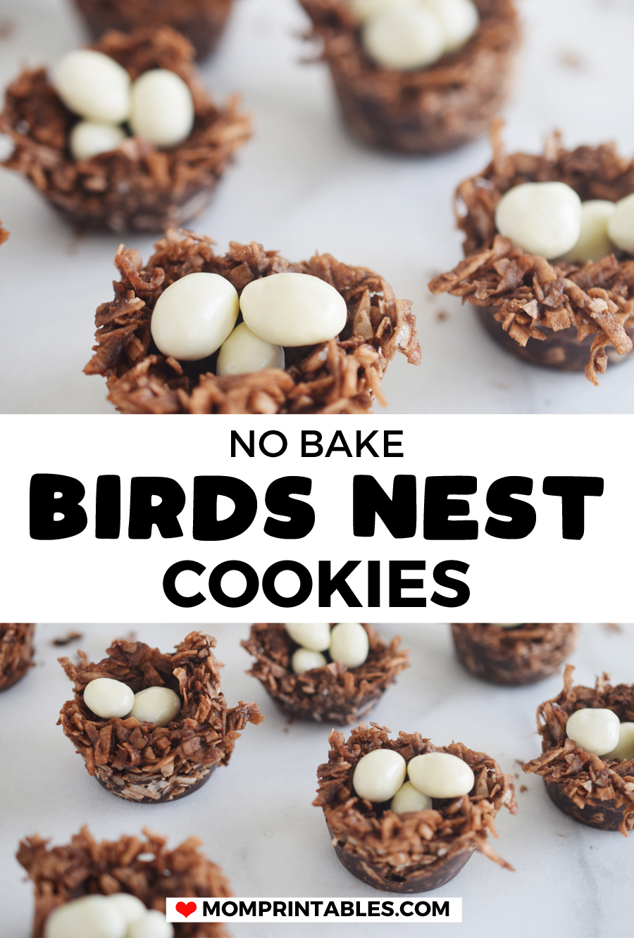 These no bake birds nest cookies are made with cocoa powder, coconut oil, maple syrup, shredded coconut and topped with yogurt covered raisins. They're the perfect Spring treat!  | Easter treats | shredded coconut | baby shower | recipe | kids | fun | no bake cookies | coconut | healthy | fun | sweets | gluten free | nut free | parties | simple | easter candy | muffin tins | dessert ideas | kid friendly | toddler snack | #springcookie #eastertreat #birdsnestcookie #cookie #recipe #kidsrecipe