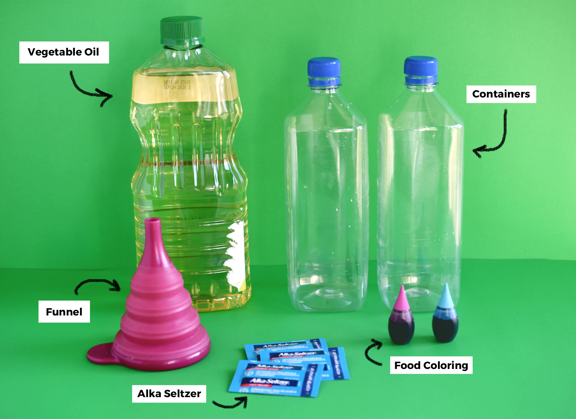 DIY Lava Lamp For Kids - Supplies Needed for the experiment