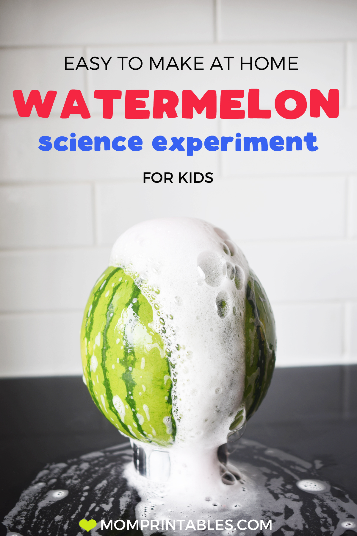 Watermelon volcano science experiment. Easy science for toddlers and preschoolers. Baking soda and vinegar science experiment. Preschool science | toddler science | for kids | small world | science experiments | baking soda | vinegar | sensory play | how to make | ideas | fun | home project | homemade | learning | activities