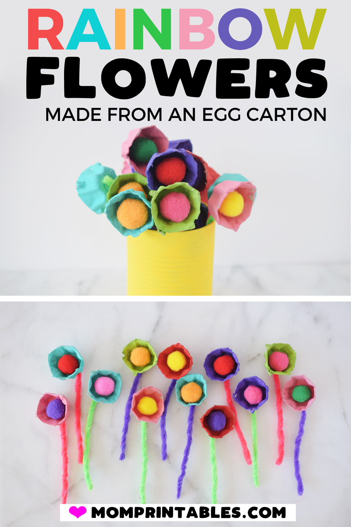 Egg Carton Flowers - Spring craft for kids. | DIY | plants | kids | how to make | preschool | wedding | tutorial | easy |  garland | lights | toddlers | simple | craft | bouquet | spring | beautiful | mothers day | gifts | mom | paint | creative | garden | paper flowers | egg carton | children | upcycle