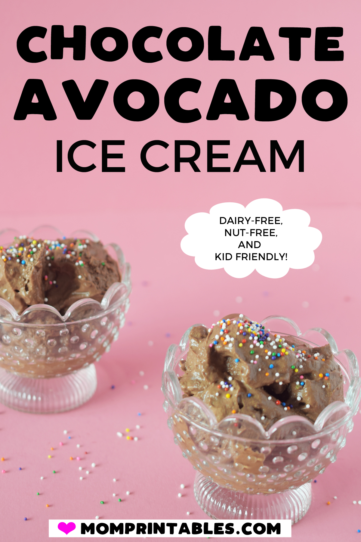 This chocolate avocado ice cream is dairy free, nut free and has no refined sugar. It's delicious and you can't taste the avocados at all. Keto | vegan | coconut milk | no churn | recipe | dairy free | maple syrup | desserts | raw vegan #dairyfree #nutfree #nochurn #avocadoicecream #kidfriendly #toddlerfriendly