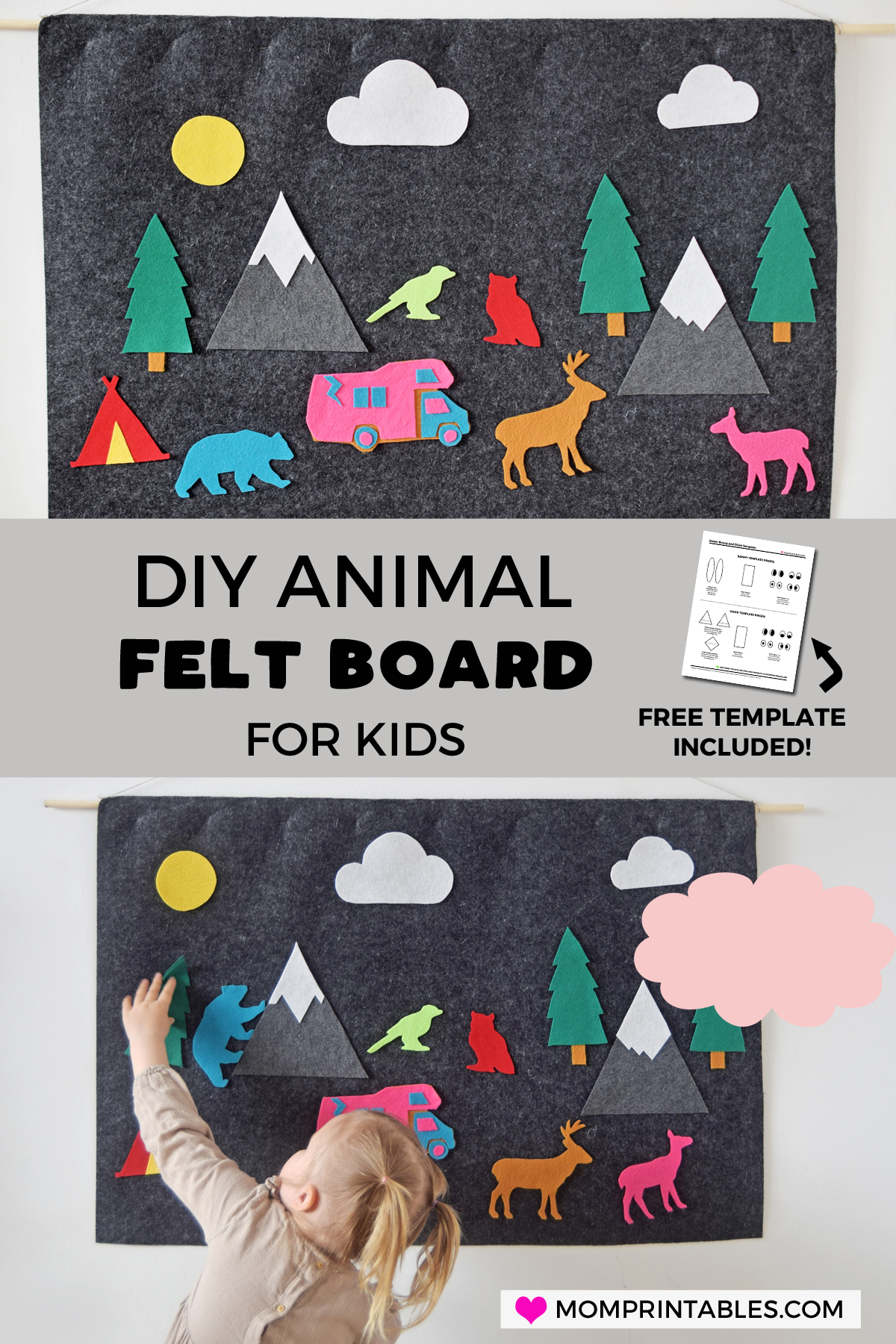 DIY Animal Felt Board For Kids | toddler | stores | how to make | templates | pieces | ideas | wall | easy | activities | patterns | canvas | for kids | for toddlers | projects | shape | learning | hungry caterpillar | pictures | animals | rocky mountains |  playrooms | no sew #feltboard #kidscraft #toddlercraft #earlylearning #felt #craft #sensory