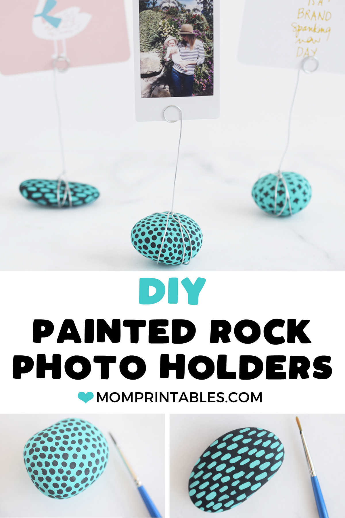 Painted Rock Photo Holders crafts for kids | kids craft | easy crafts for kids | budget friendly crafts | toddler crafts | gifts for mom | gifts for grandparents | gifts from kids | turquoise | painted rocks | photo holder | photo frame craft #kidscrafts #toddlercrafts #crafts #toddleractivities #kidsplayideas