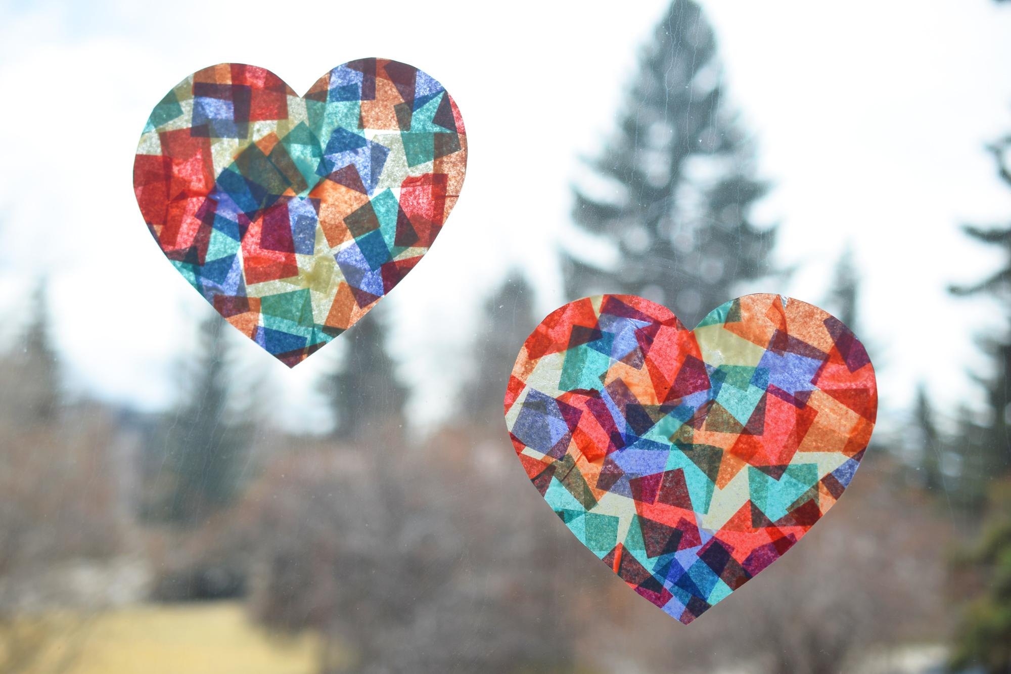 Heart suncatcher craft
