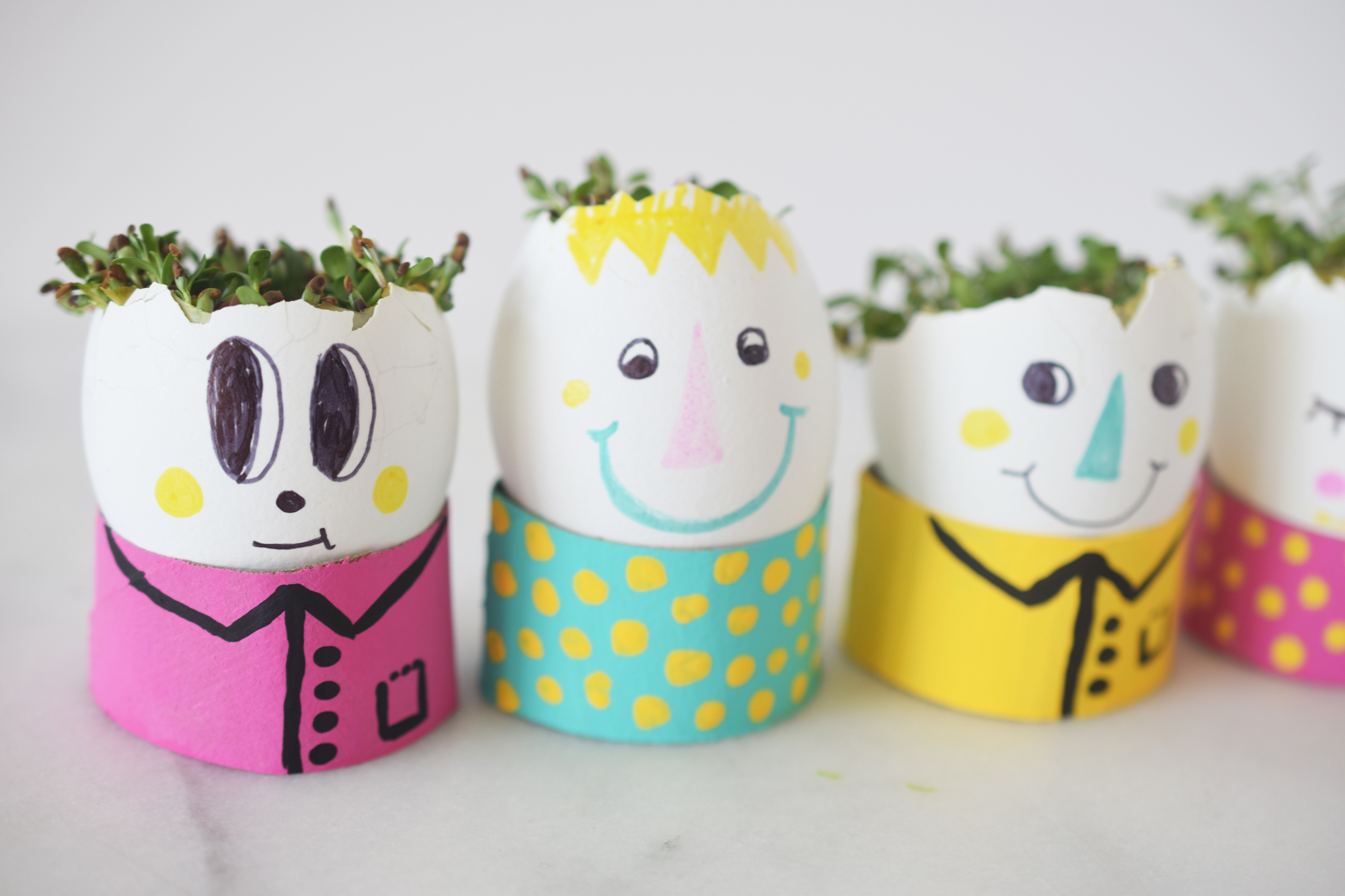 egg head planters with sprout hair craft