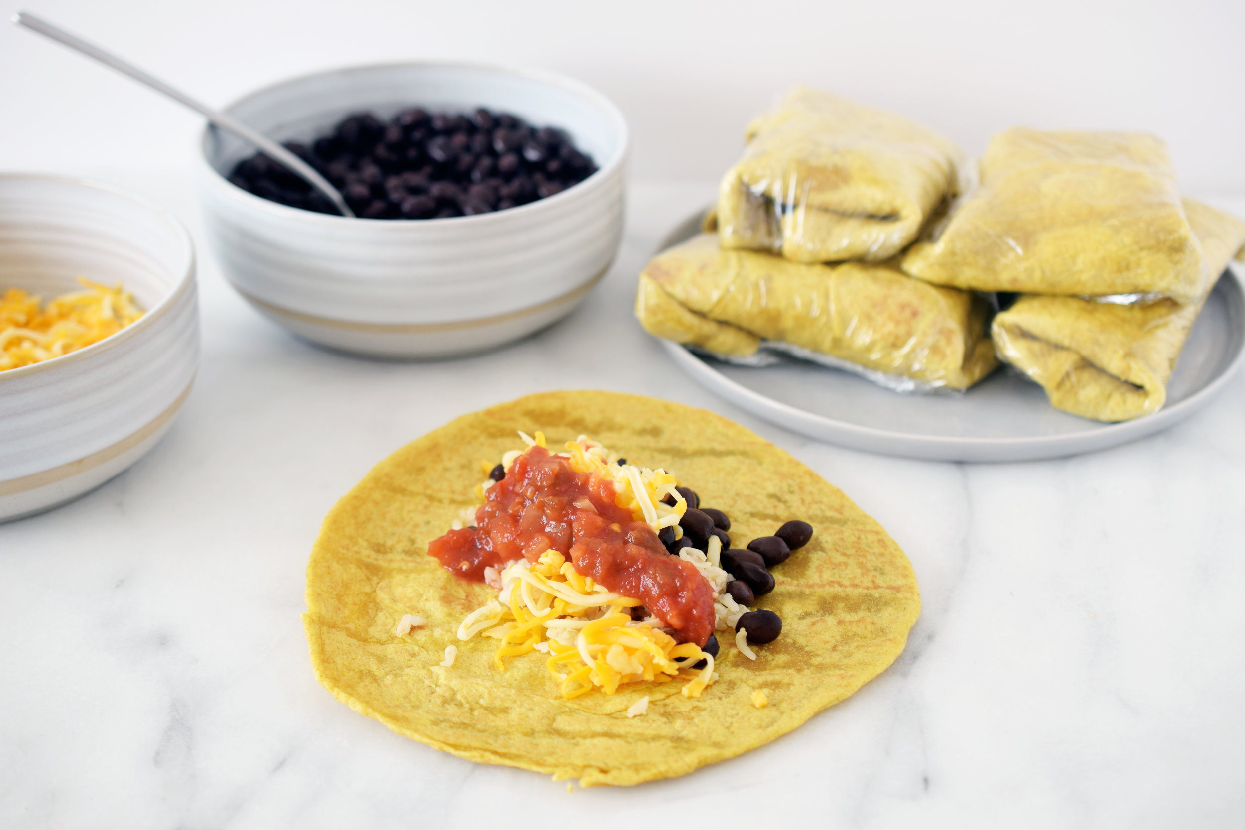 Black bean freezer burritos
