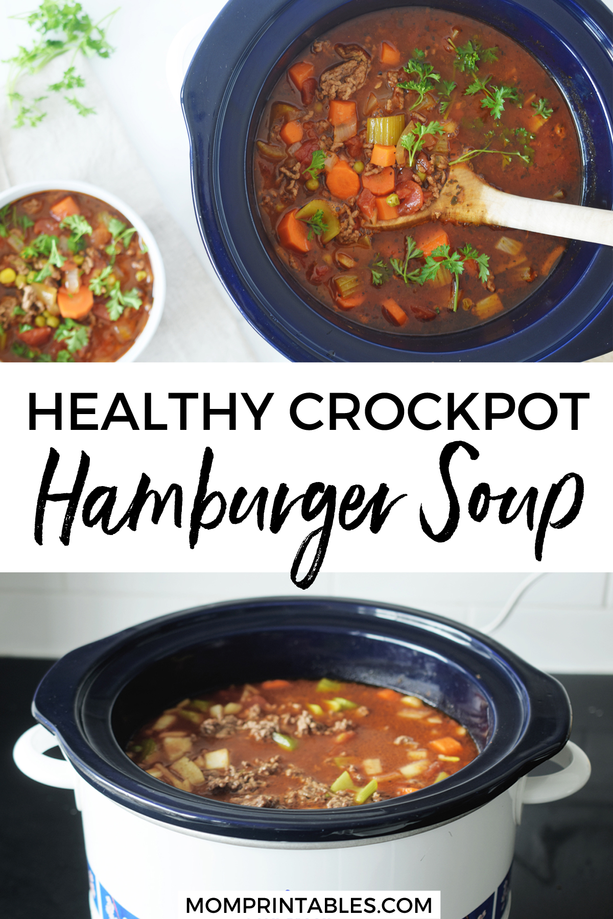 Easy Healthy  Crockpot Hamburger Soup | slow cooker | freezer meal | recipe | healthy | slow cooker | tomato | hearty | with beef broth | keto | low carb | old fashioned | gluten free | crockpot | slow cooker | paleo | vegetable | simple | poor mans | with veg | quick | for a crowd #crockpot #slowcooker #hamburgersoup #soup #crockpot #freezermeal