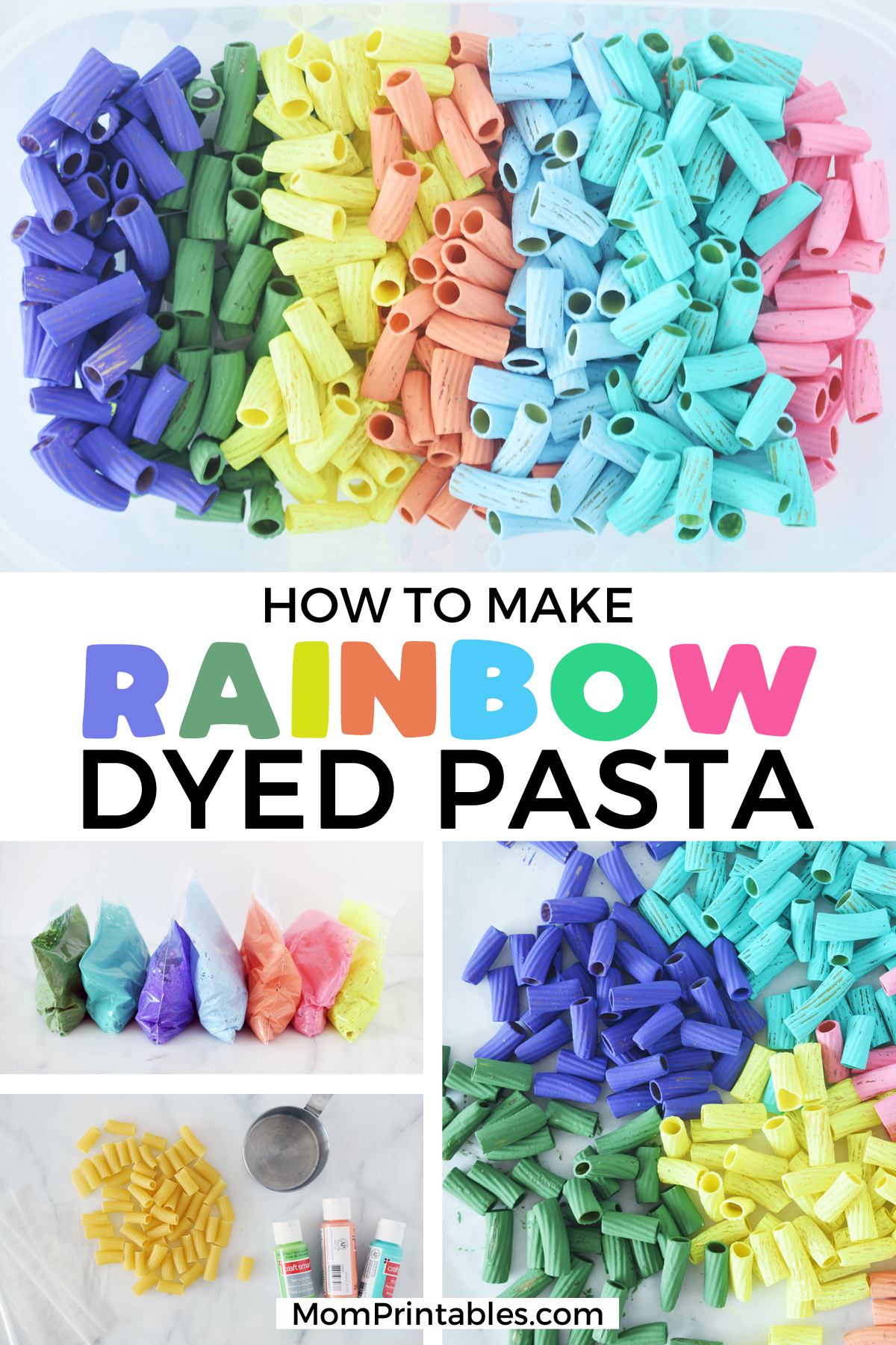 Dyed Pasta Crafts. How To Dye Pasta Noodles For Crafts. | for kids | dyes | fun | fine motor | how to make | art | sensory table | projects | beads | macaroni necklace | tutorials | busy bags | ideas | colored pasta | #pastacrafts #crafts #kids #toddler #preschool #kindergarten #activities