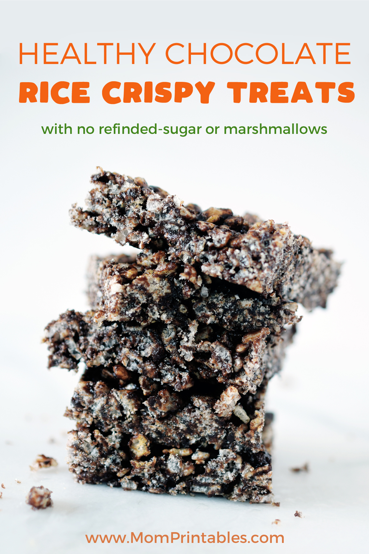 Healthy Chocolate Rice Crispy Treats that have no refined sugar and no marshmallows. They are naturally sweetened with maple syrup. The protein from Sunbutter (or nut butter) makes them a great snack for families. These are dairy free, nut free, low carb, and a great kids snack idea. #chocolate #healthy #dessert #rice #crispy #treats