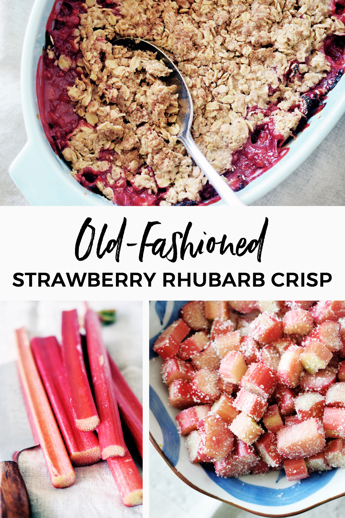 With a crispy topping and sweet in-season fruit, this Strawberry Rhubarb Crumble could not be easier or more perfect for a simple summer dessert. #crumble #rhubarb #strawberries