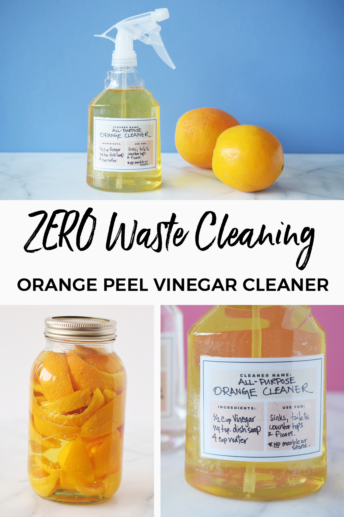 Zero waste cleaning: orange peel vinegar cleaner. Perfect for zero waste cleaning. It makes a great DIY all-purpose cleaner. Here's how to make it and use it. #zerowaste #homemade #orange #citrus #cleaning