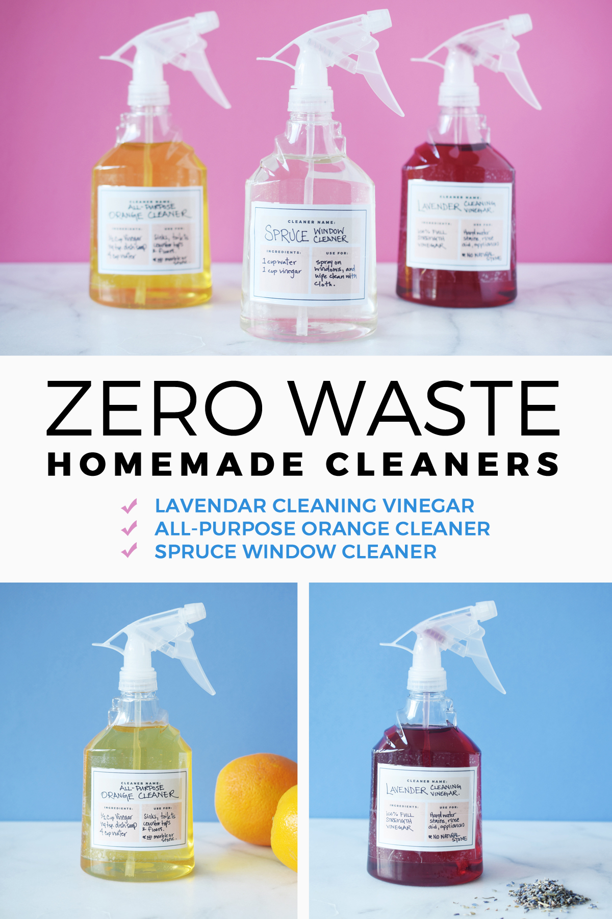 Homemade cleaner with vinegar. 3 Cleaners To Stop Buying And Start Making. Zero Waste All Purpose Natural Cleaners using citrus peels, lavender, spruce tips and vinegar. These recipes are so easy to make and much cheaper than buying cleaners at the grocery store. Disinfect, clean your bathroom, kitchen, floor, showers and more. They smell good and are made with orange peels. Includes tips and tricks with recipes and it works.