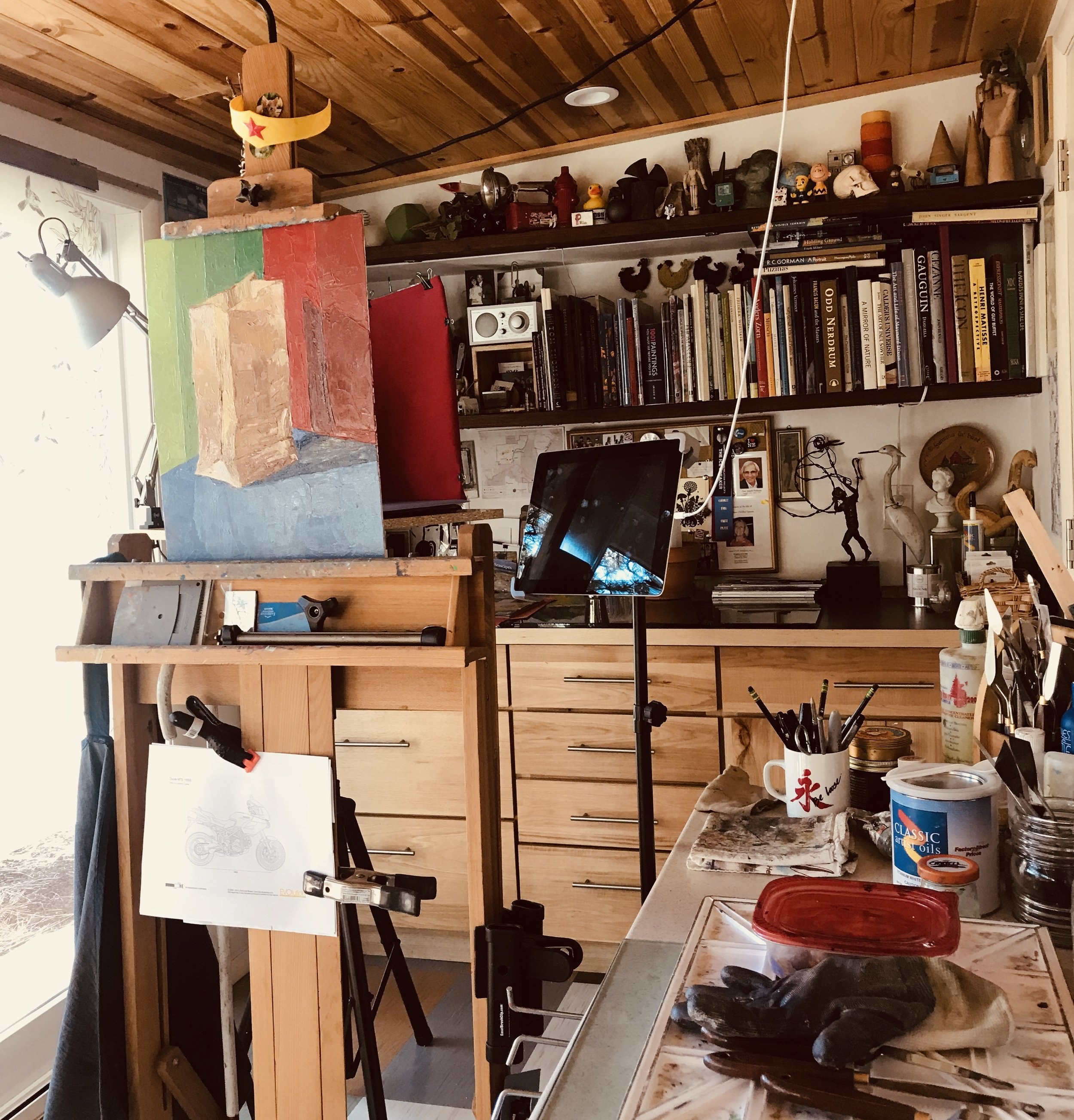 Rebekah's home studio, currently in progress with a 30 day color study.