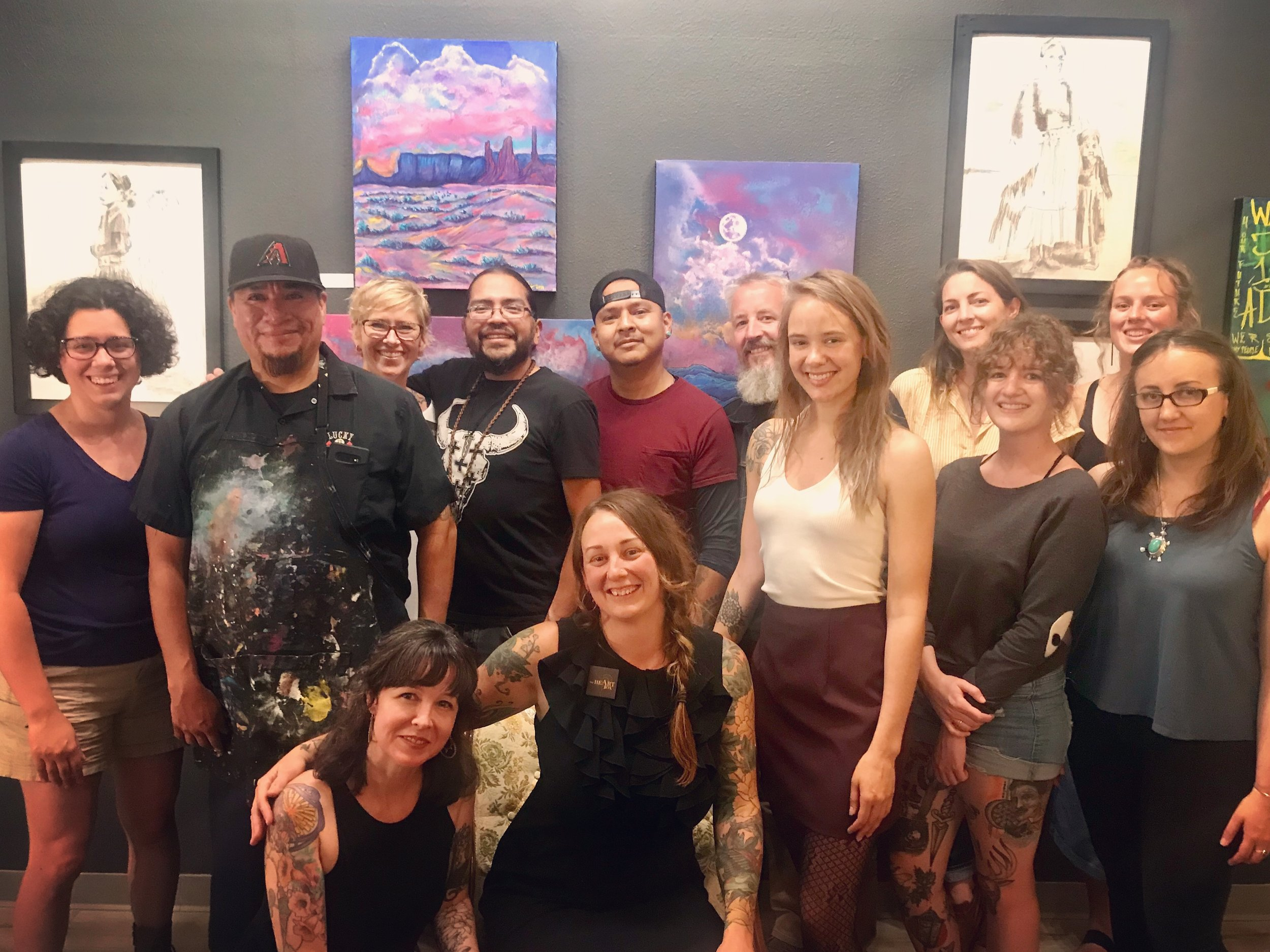 A small collection of all the artists who have contributed to The HeArt Box throughout the year. Photo taken on First Friday Artwalk, August 2nd, 2019.  Pictured from Left to Right: Gina Purri, Jerrel Singer, Katy Kyle, Jonah Hill, Nate B., Stephen Saunders, Raemy Winton, Ava Miller, Malory Donahue, MacKenzie Chase, Alexandra Melina and seated in front Jada Santoro and Jill Sans.