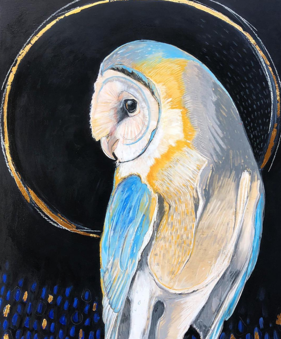Eclipse - Nighttime darkness sweeps the day, as sunlit rays are stolen from the sky like golden arrows. Only in this silent kingdom of stars can the owl fly free, his glowing face an orb against the moon.  Acrylic, oil pastel, graphite, Wood Panel