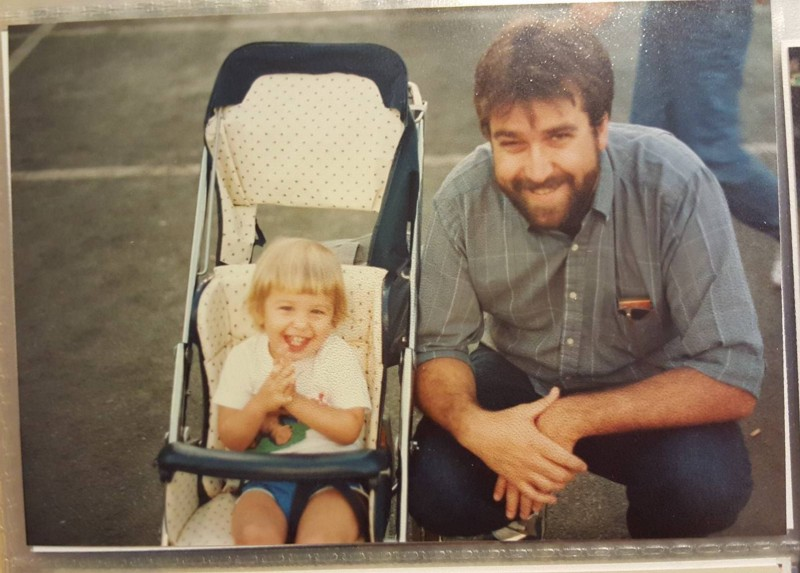 A young Oscar and a *VERY* young Laurel visiting a beach in California, sometime in mid-1990