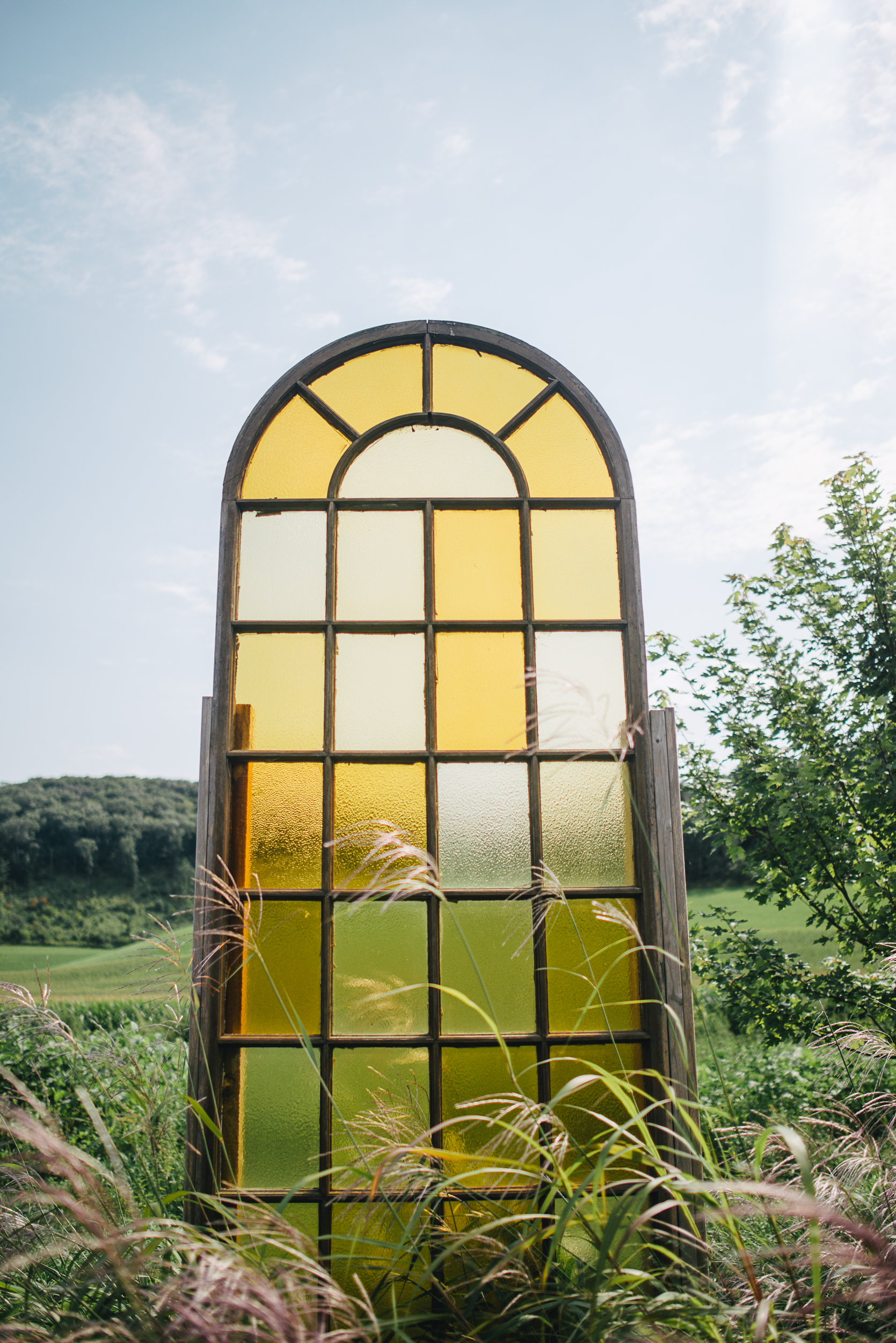 Stained glass window outdoors