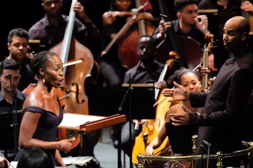 Soprano Jeanine de Bique performs with the Chineke! Orchestra at the Royal Albert Hall. Image by Mark Allen.