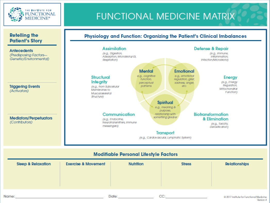 Institute for Functional Medicine. (2017).  Functional Medicine Matrix.  Retrieved from https://www.ifm.org