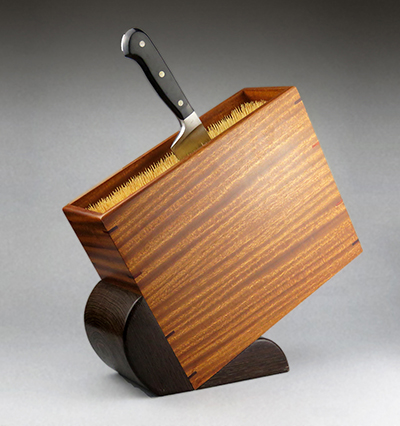 handmade wooden knife block with bamboo