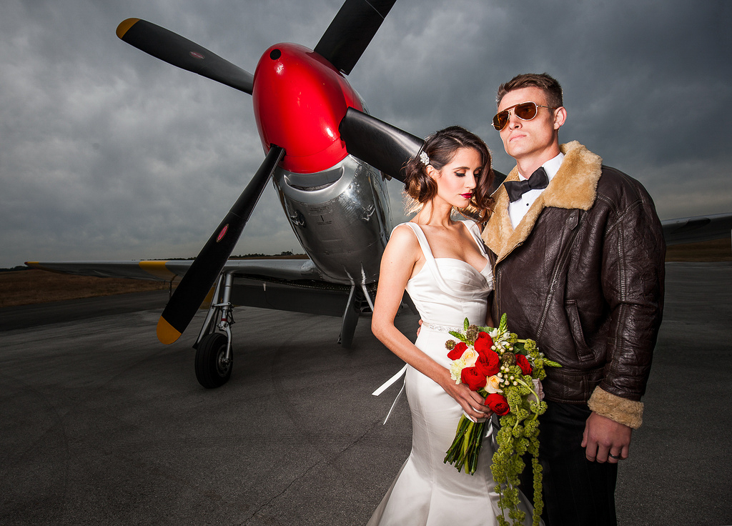 When you get married in an airplane hanger, you make the best of it.