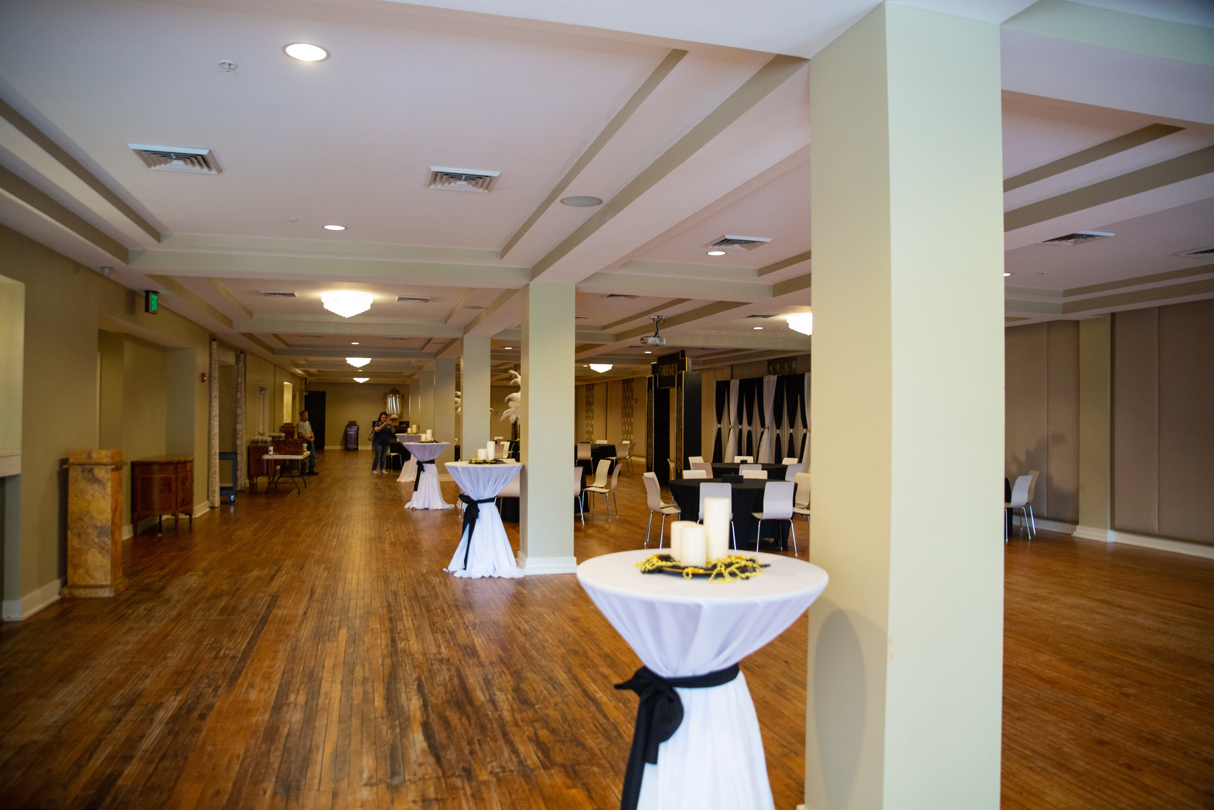 The ballroom is clean even if it's a little plain. Your decorations will make or break this space.