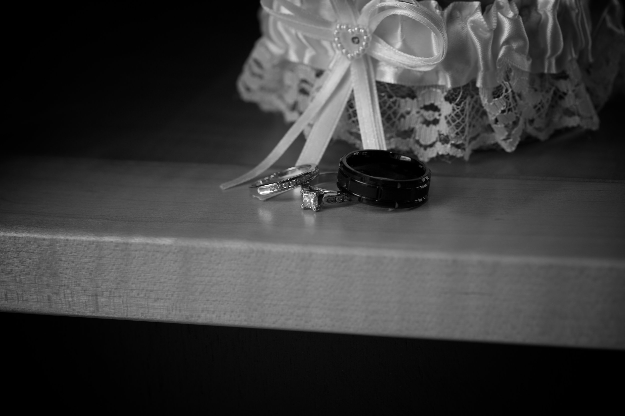 Combining the rings with the garter gives this picture some pop.