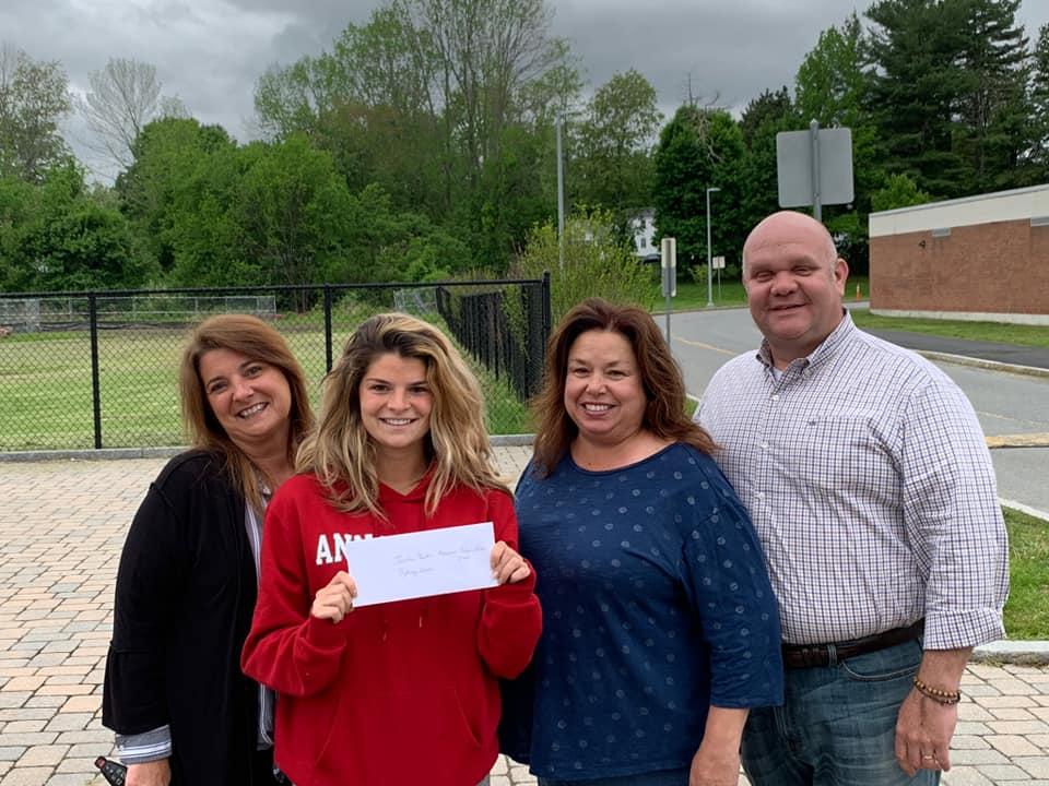 Jordan Rankin Memorial Scholarship 2019 recipient Sydney Owen joined by her mother Jill and Jordan's parents, Cindy and John Rankin