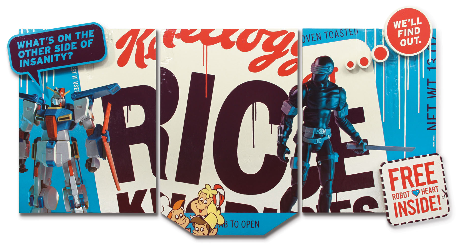 Rice Krispies oil painting with Gundam robot and Snake Eyes