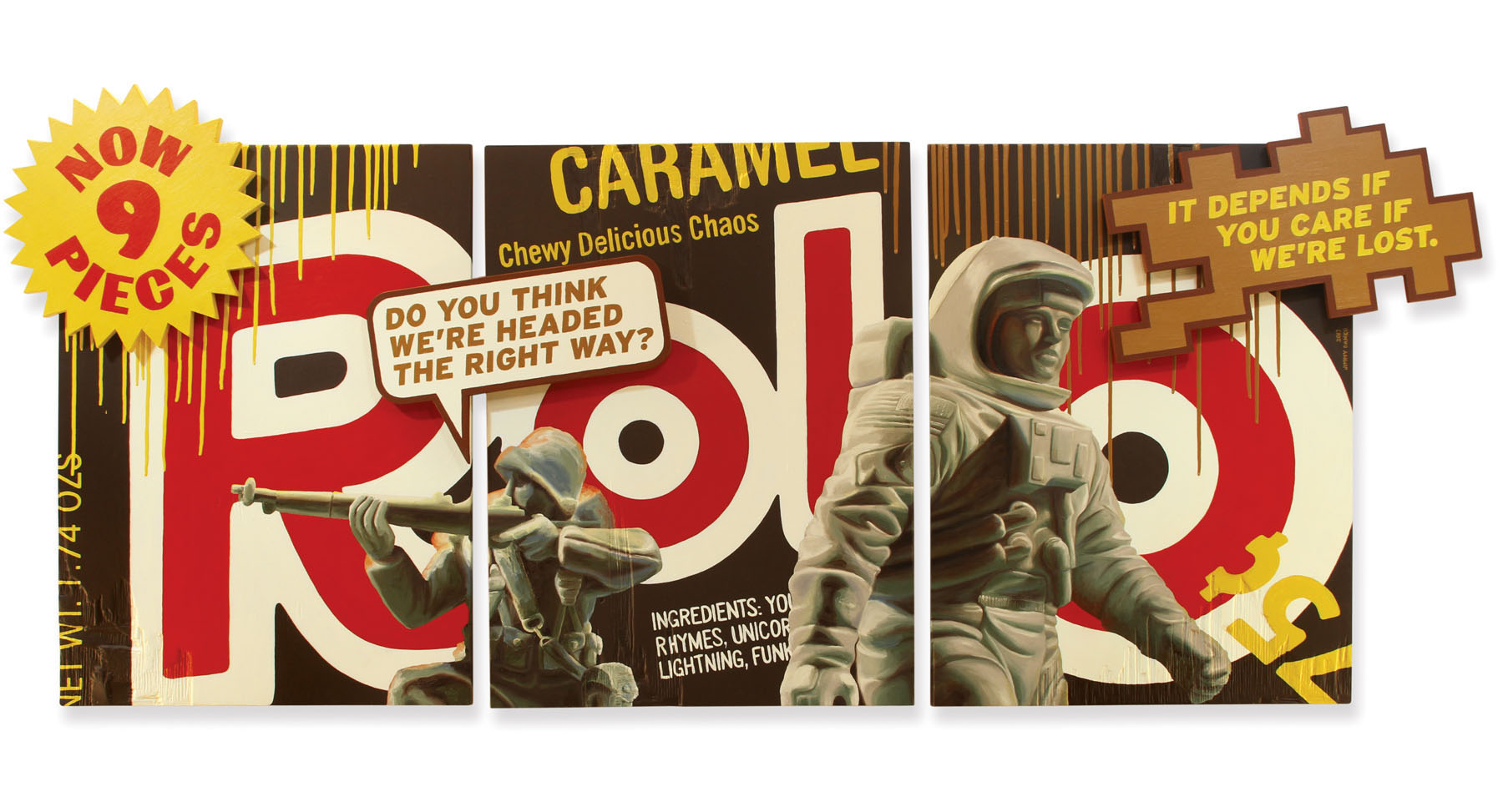 Rolo caramel candy oil painting with plastic army man and plastic toy astronaut.