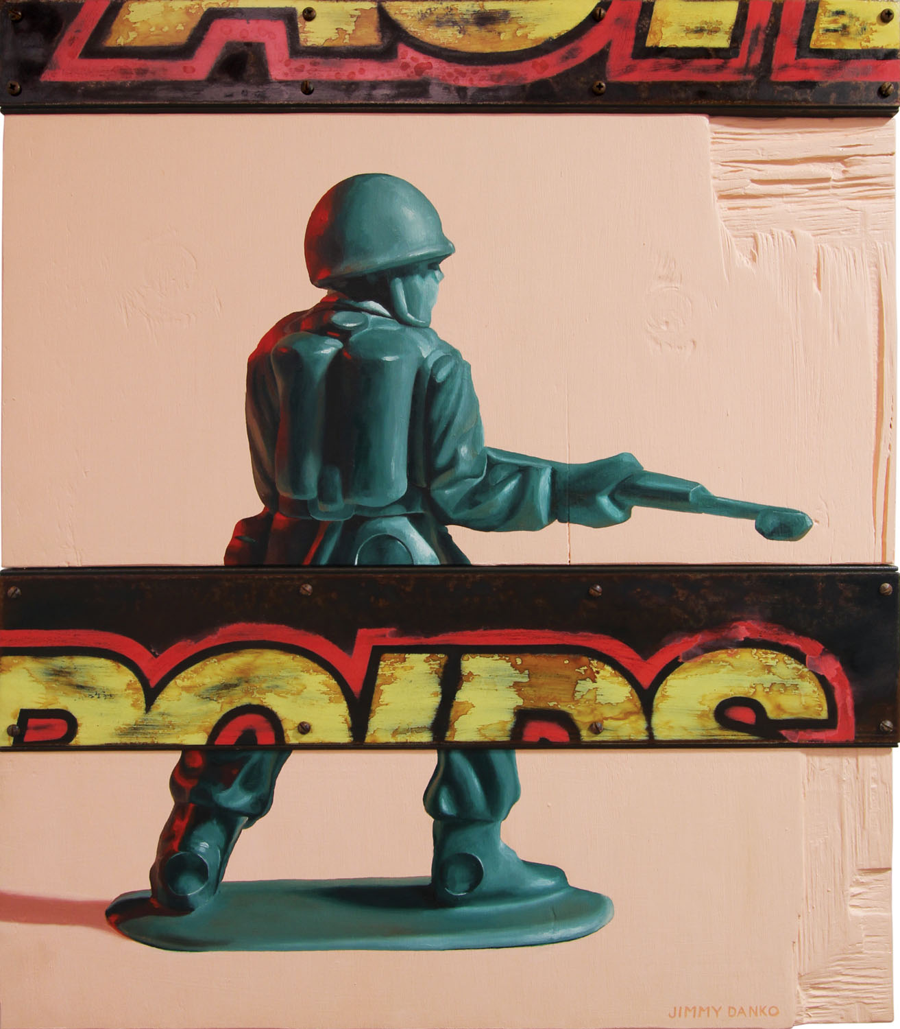 Oil painting of a plastic green army figure.