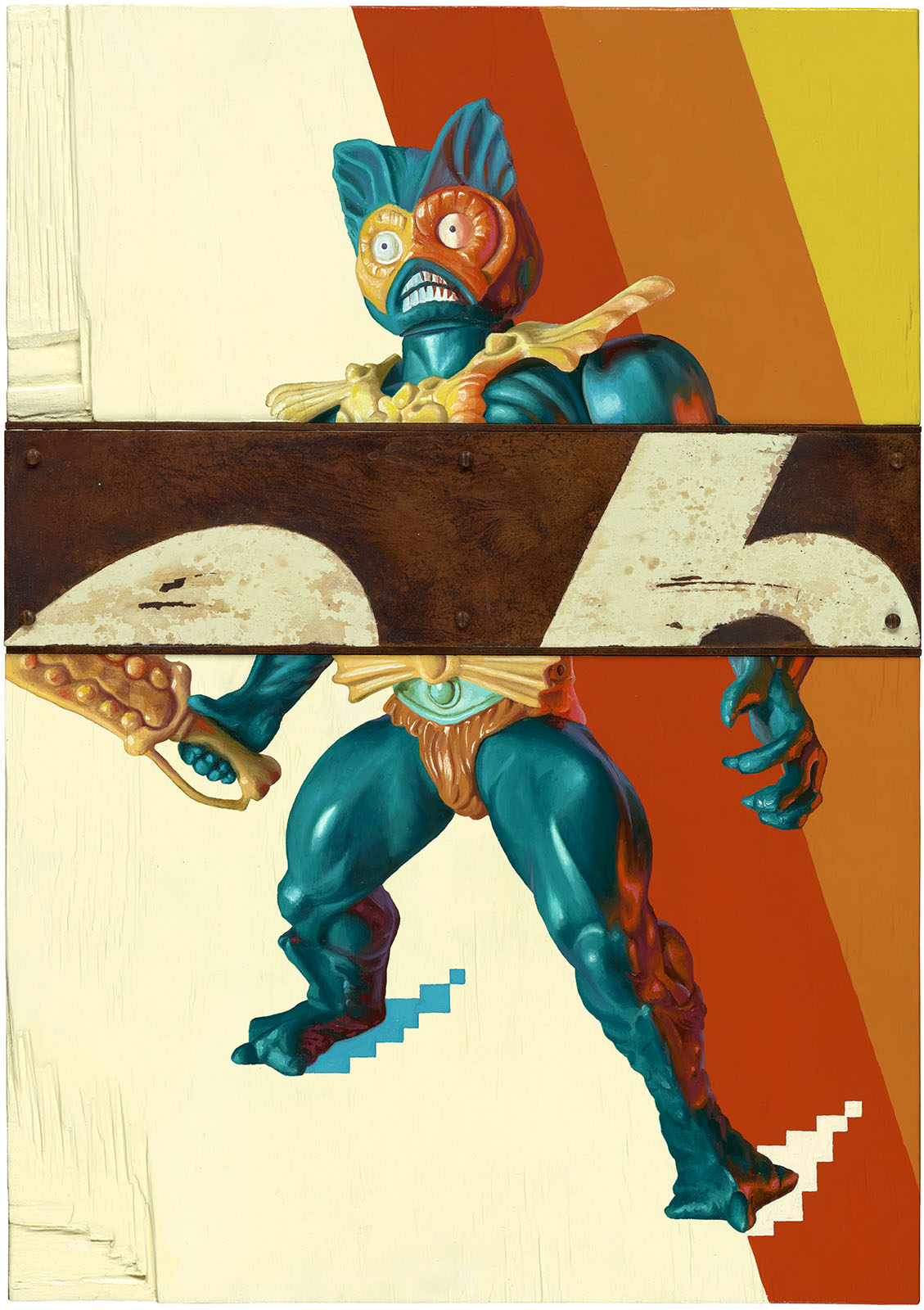 Oil painting of Mer-man from He-man and the Masters of the Universe (MOTU).
