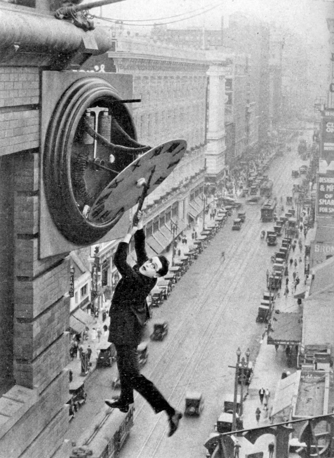 """Safety Last!"" is a silent movie featuring Harold Lloyd. It was released in 1923 and is now in the public domain. Credit:  Wikimedia  ."