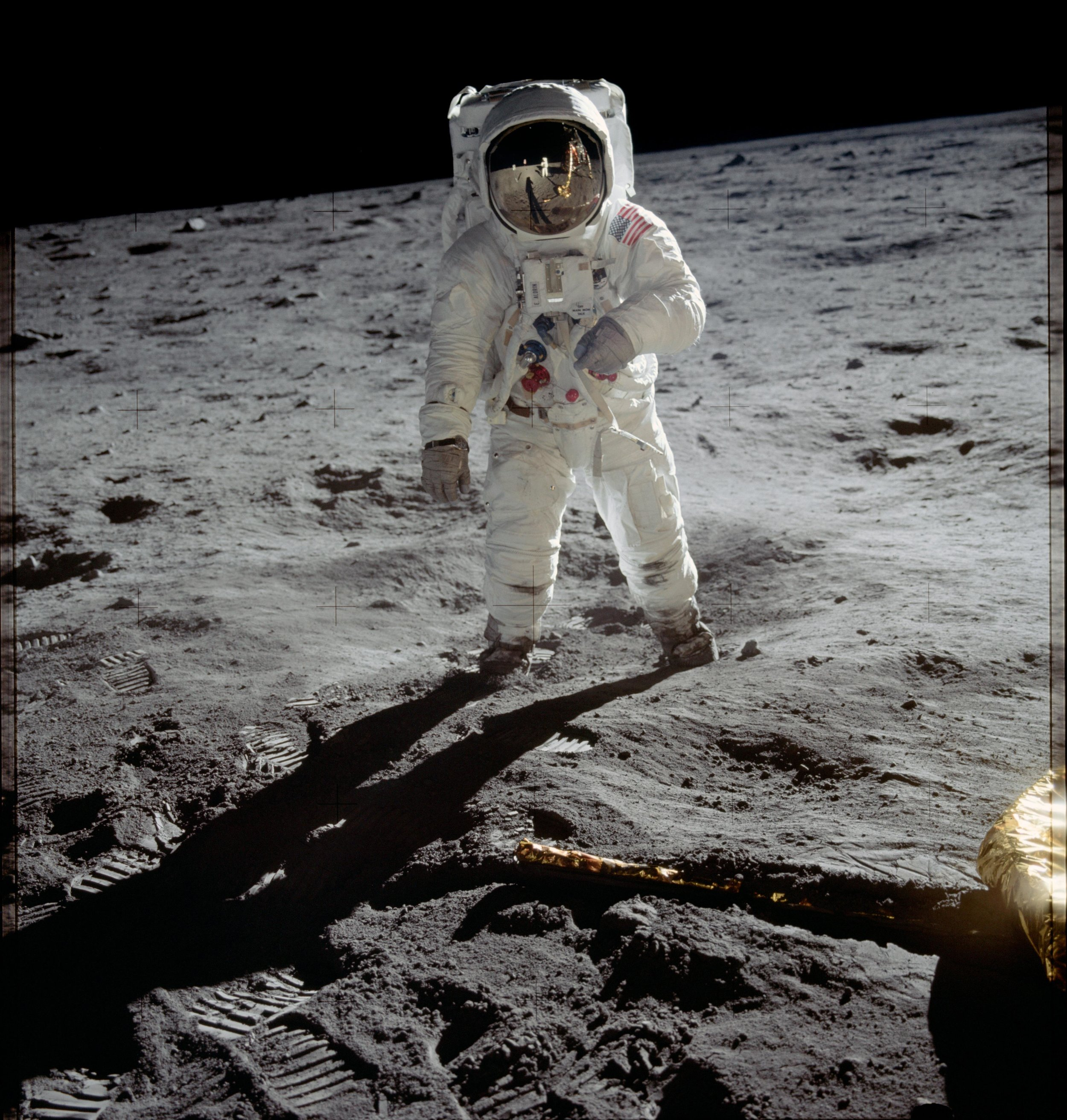 Buzz Aldrin on the moon. July 20, 1969. Photo taken by Neil Armstrong. Credit (public domain):  NASA