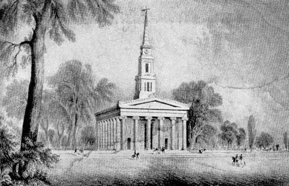 New York's oldest church. St. Marks in the Bouwerie—where the first English Governor and the last and greatest Dutch Governor are buried—as it appeared in 1853, at the corner of Second Avenue and Eleventh Street