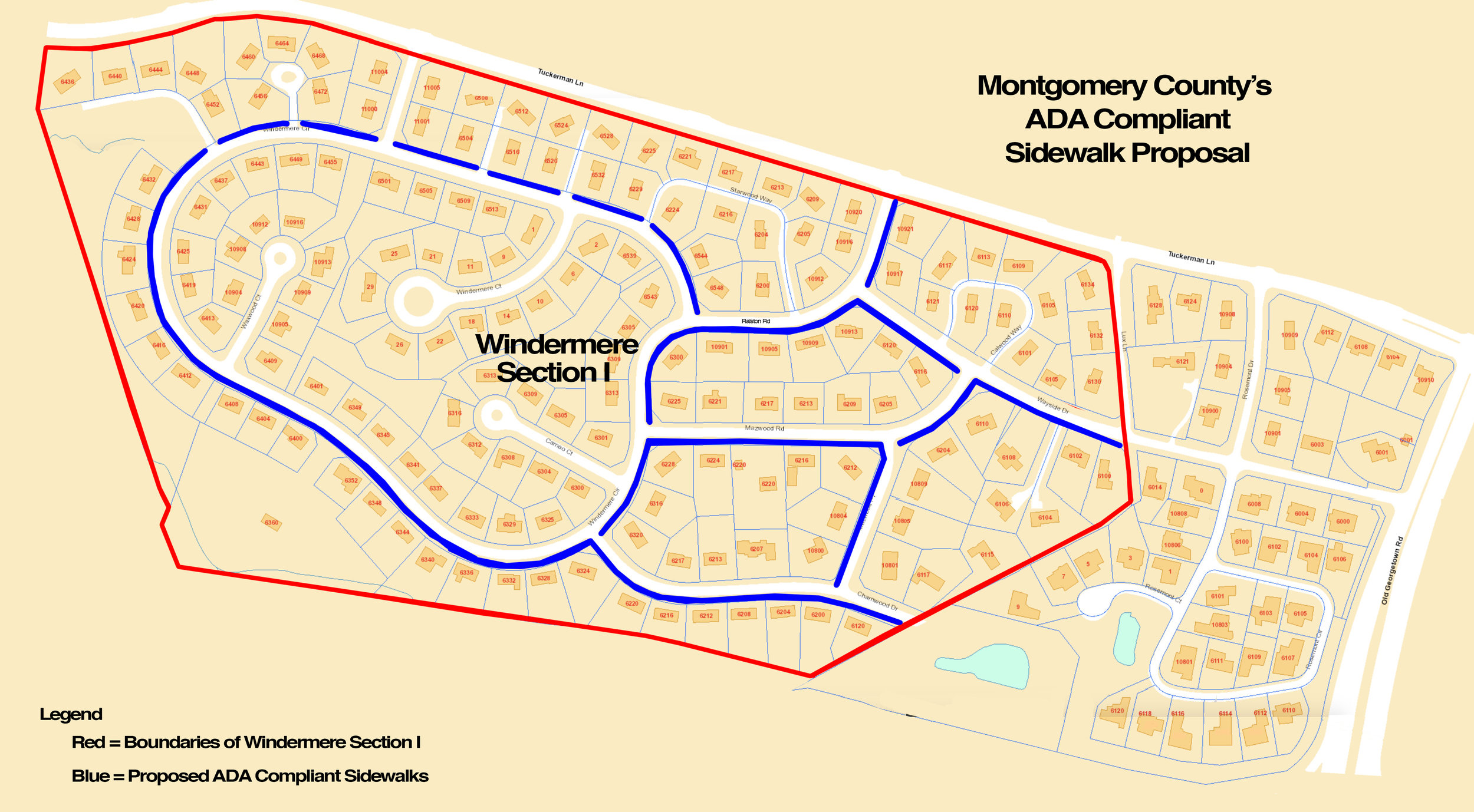 This map depicts the proposed sidewalk.  Click here to enlarge.