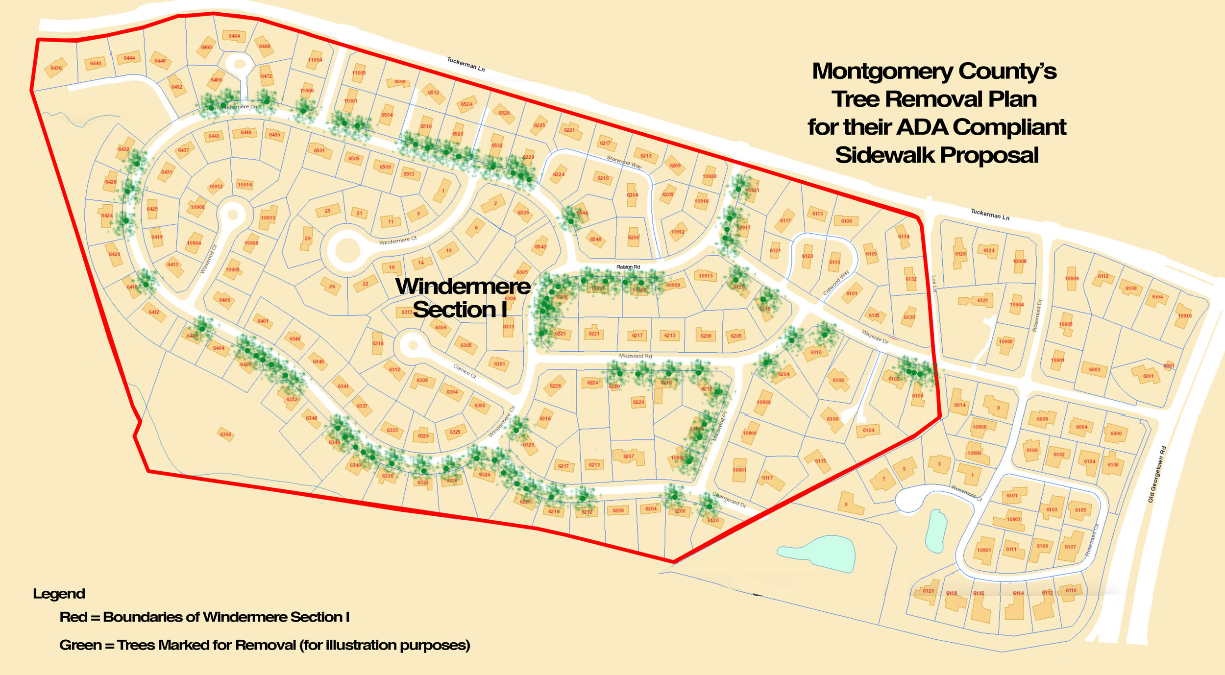 This map depicts the County's tree removal plan per the arborist's report.  Click here to enlarge .
